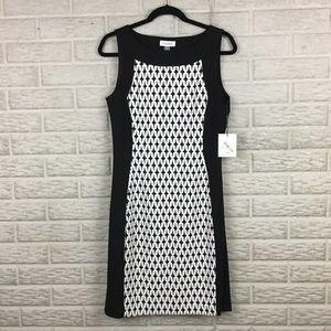 Calvin Klein Printed Panel Sheath Colorblock Dress